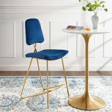 Ponder Performance Velvet Bar Stool in Navy