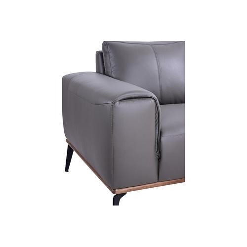 Porter International Designs - Pietro Gray Leather Sofa, Loveseat & Chair, L2110