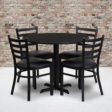 Product Image - 36'' Round Black Laminate Table Set with X-Base and 4 Ladder Back Metal Chairs - Black Vinyl Seat