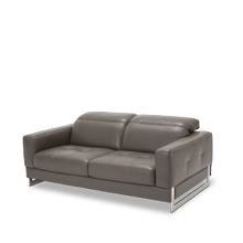 Novelo Leather Loveseat in Slate St.Steel