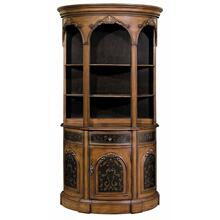See Details - Tall Demilune Bookcase Black / Woodtone