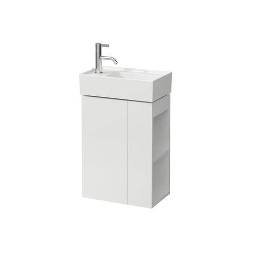Mustard Yellow Vanity Unit with one glas shelf, door hinge left, open shelf right for handwashbasin tap bank left 815335