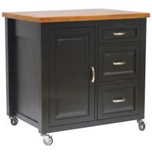 See Details - Kitchen Cart - Antique Black w/Cherry Top