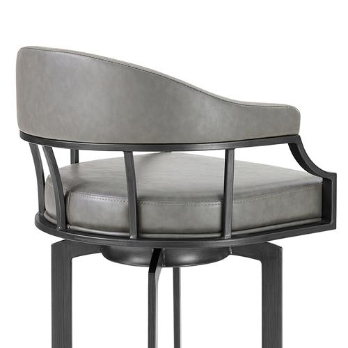 """Edy Swivel 30"""" Mineral Finish and Grey Faux Leather Bar Stool"""