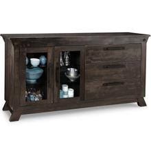 Algoma Sideboard W/2 Glass doors on Left & 3/Dwrs on Right with 2/Glass Adjust. Shelf