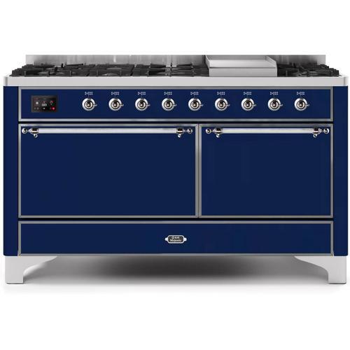 Ilve - Majestic II 60 Inch Dual Fuel Liquid Propane Freestanding Range in Blue with Chrome Trim