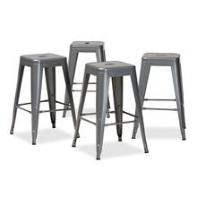 See Details - Baxton Studio Horton Modern and Contemporary Industrial Grey Finished Metal 4-Piece Stackable Counter Stool Set