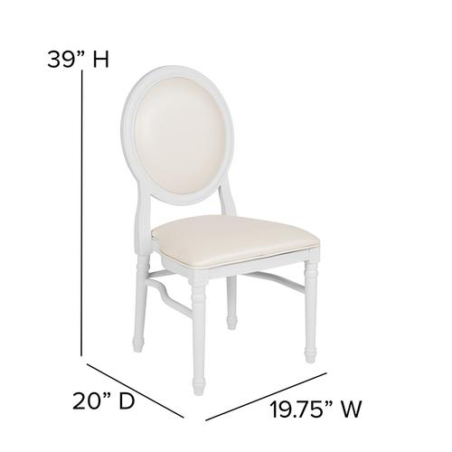 Flash Furniture - HERCULES Series 900 lb. Capacity King Louis Chair with White Vinyl Back and Seat and White Frame