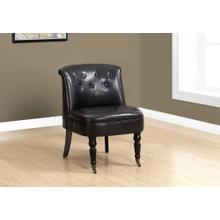 ACCENT CHAIR - TRADITIONAL STYLE DARK BROWN LEATHER-LOOK