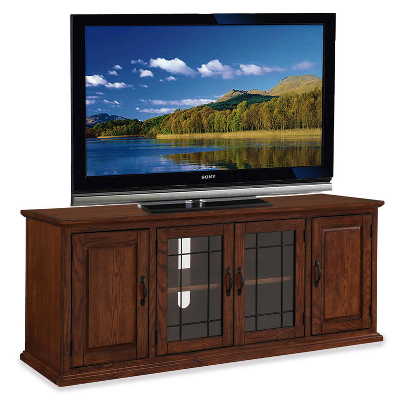 """See Details - Oak Leaded Glass 60"""" TV Stand #80360"""