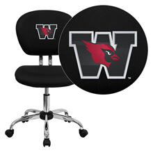 Wesleyan University Cardinals Embroidered Black Mesh Task Chair with Chrome Base