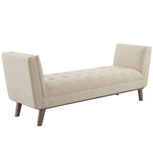 Haven Tufted Button Upholstered Fabric Accent Bench in Beige