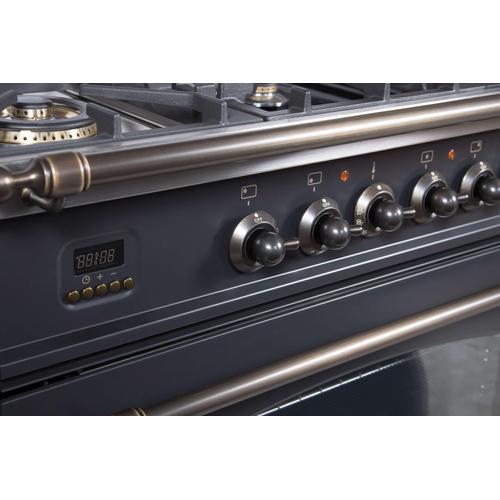 Ilve - Nostalgie 30 Inch Gas Natural Gas Freestanding Range in Matte Graphite with Bronze Trim