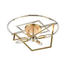 Geosphere 4-Light Semi Flush in Polished Nickel and Parisian Gold Leaf
