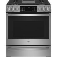 "GE Profile 30"" Slide-In Convection Gas Range with WiFi Connect Stainless Steel - PCGS930YPFS"