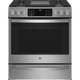 """GE Profile 30"""" Slide-In Convection Gas Range with WiFi Connect Stainless Steel - PCGS930YPFS"""