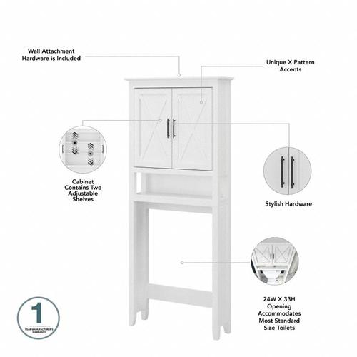 Key West Bathroom Farmhouse Bathroom Storage Set with Cabinets, Mirror, Hamper and Shelf - White Ash