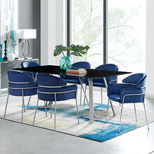 Product Image - Cressida and Portia Blue Velvet 7 Piece Rectangular Dining Set