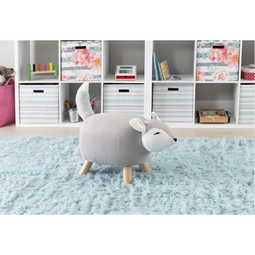 Cushioned With Soft Foam Fox Kids Stool, Grey and Natural