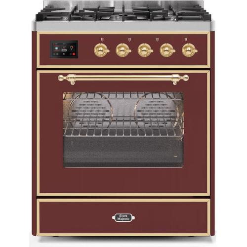 Majestic II 30 Inch Dual Fuel Liquid Propane Freestanding Range in Burgundy with Brass Trim