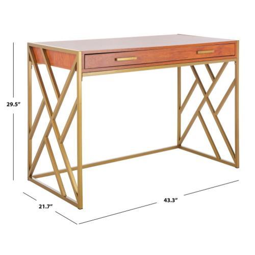 Elaine 1 Drawer Desk - Natural / Gold
