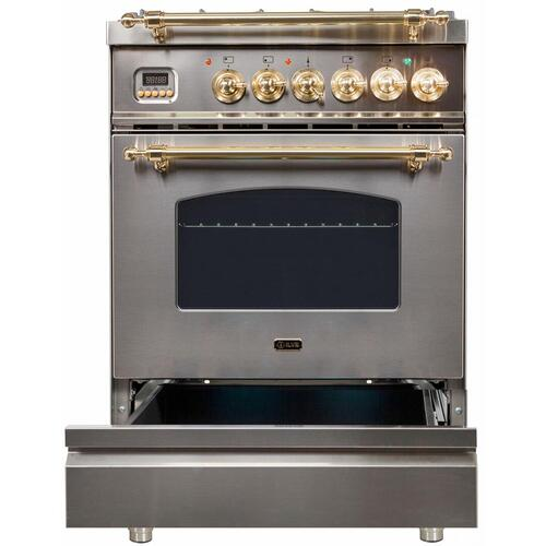 Nostalgie 24 Inch Dual Fuel Liquid Propane Freestanding Range in Stainless Steel with Brass Trim