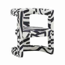 View Product - Ada Velvet Chair in Black Brushstroke Pattern