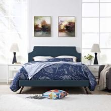 Corene King Fabric Platform Bed with Round Splayed Legs in Azure