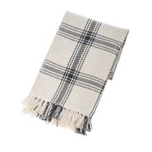 Black & Natural Plaid Woven Throw