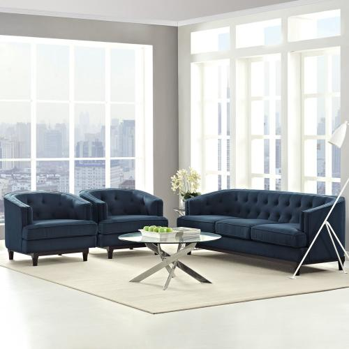 Coast Living Room Set Set of 3 in Azure