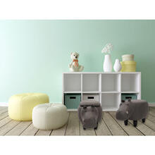 """See Details - Critter Sitters Plush Hippopotamus Storage Animal Ottoman Furniture for Nursery, Bedroom, Playroom & Living Room Decor, 15"""" Seat Height, CSHIPSTOTT-DKGRY"""