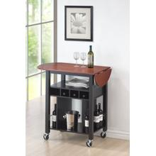 Chicago Black Cherry Drop Leaf Wine Serving Cart on Wheels