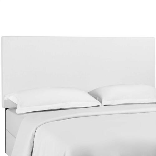 Taylor King and California King Upholstered Linen Fabric Headboard in White