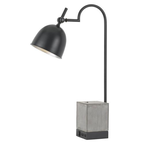 60W Beaumont Metal Desk Lamp With Cement Base, 1 Electrical Outlet And 2 USB Outlets