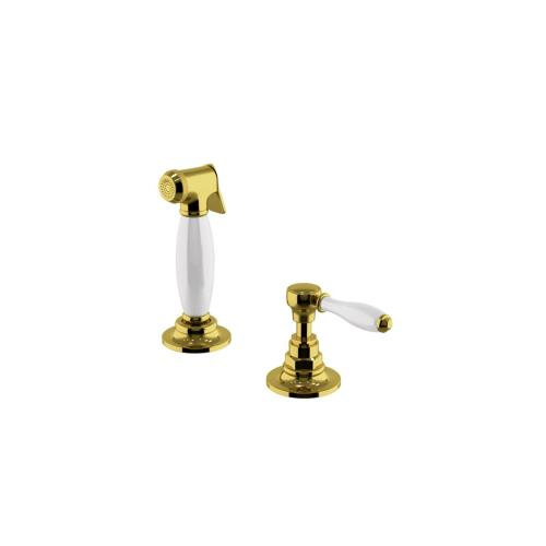Easton Vintage Spray, White Porcelain Lever Handle in Gold Complies, 0.25% WALC