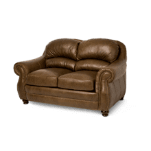 Aston Leather LoveSeat in Bark Espresso