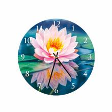 Lotus Flower Round Square Acrylic Wall Clock