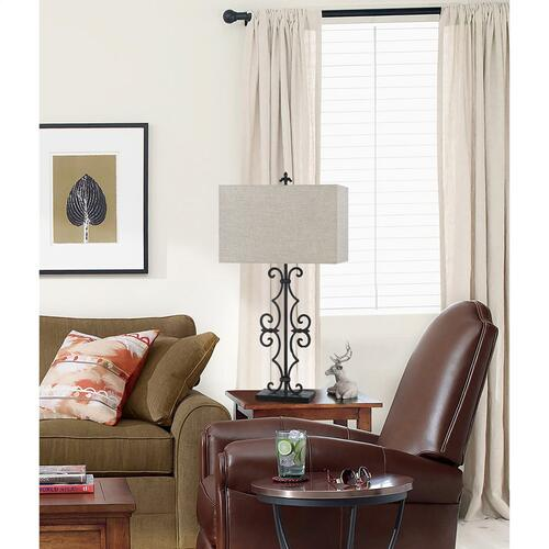 Cal Lighting & Accessories - 150W 3 Way Soria Cast Iron Table Lamp With Hardback Burlap Shade