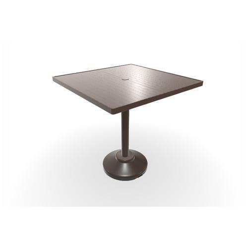 "Telescope Casual Furniture - Aluminum Slat Top Table 36"" Square Balcony Height 80 lb Pedestal Table w/ hole"