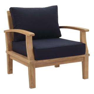 Marina Outdoor Patio Teak Armchair in Natural Navy
