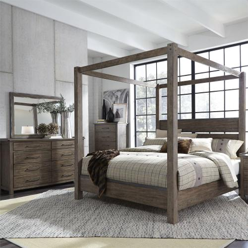 King California Canopy Bed, Dresser & Mirror, Chest