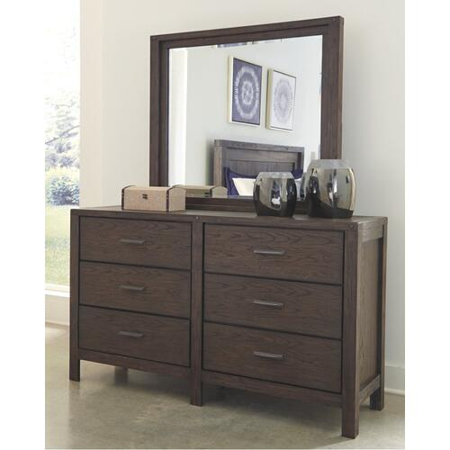 California King Panel Bed With 4 Storage Drawers With Mirrored Dresser and 2 Nightstands