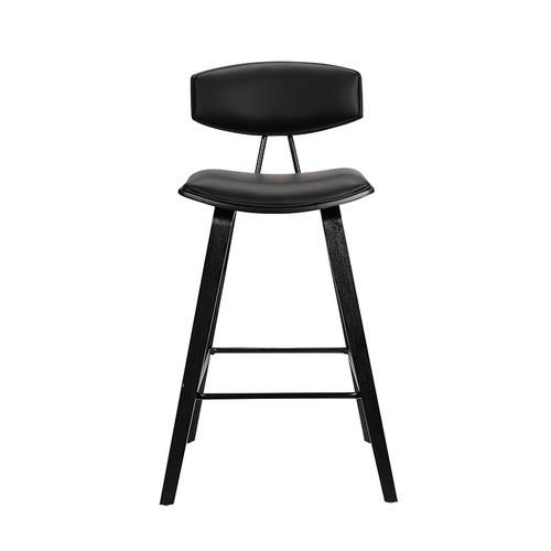 """Fox 28.5"""" Mid-Century Bar Height Barstool in Black Faux Leather with Black Brushed Wood"""
