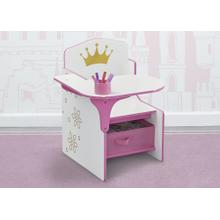 Princess Crown Chair Desk with Storage Bin - Pink and White (1187)