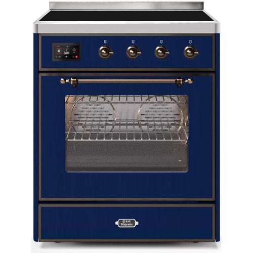 Majestic II 30 Inch Electric Freestanding Range in Blue with Bronze Trim