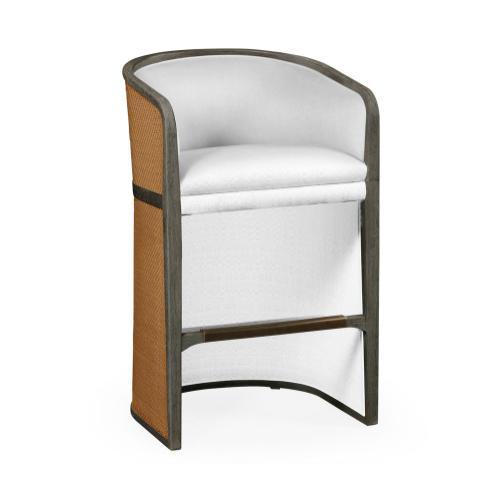 Grey & Tan Rattan Tub Bar Stool, Upholstered in COM