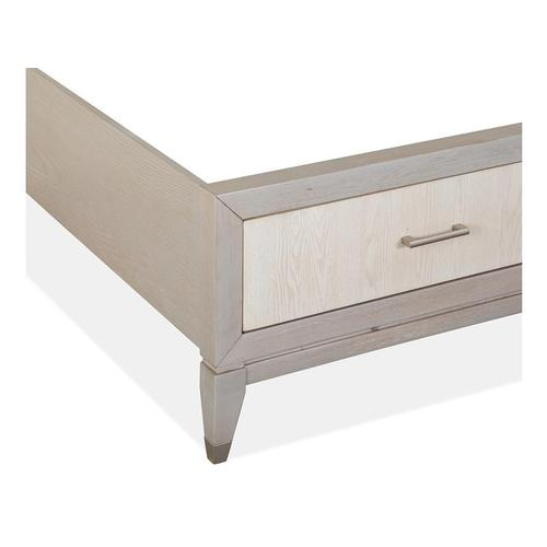 Magnussen Home - Complete Queen Panel Storage Bed w/Uph./PU Fretwork HB