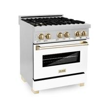 """See Details - ZLINE 30"""" 4.0 cu. ft. Dual Fuel Range with Gas Stove and Electric Oven in Stainless Steel with White Matte Door and Accents (RAZ-WM-30) [Color: Champagne Bronze]"""