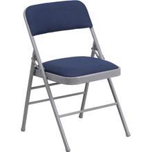 HERCULES Series Triple Braced Navy Patterned Fabric Upholstered Metal Folding Chair