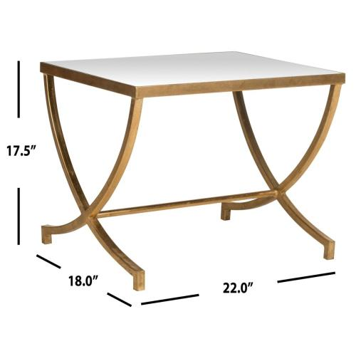 Maureen Glass Top Gold Leaf Accent Table - Gold